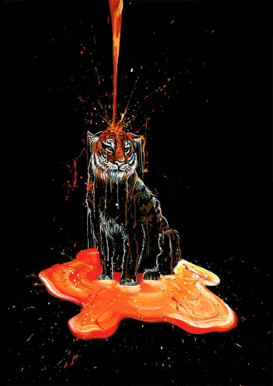 A black tiger being painted orange